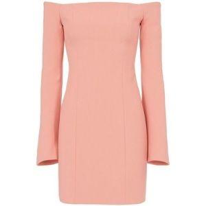 cinq à sept pink off the shoulder bell sleeve dres